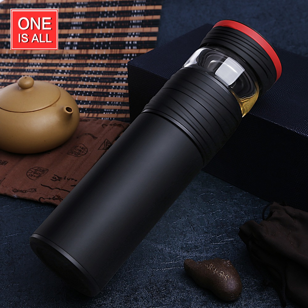 ONEISALL 550ml Insulation Cup Tea Bottle Stainless Steel Liner Glass Compartment Business Thermos Tea Cup Portable