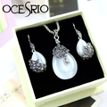 OCESRIO Elegant Cat Eye Crystal Jewelry Sets with Gift Box Silver Chain Pendant Necklace Drop Earrings for Women Gifts gfs-a06