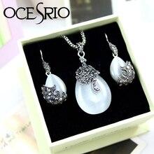 OCESRIO Elegante Del Ojo de Gato Collar de Joyas de Cristal con Caja de Regalo de Cadena Pendiente de Plata Pendientes de Gota para Las Mujeres Regalos gfs-a06