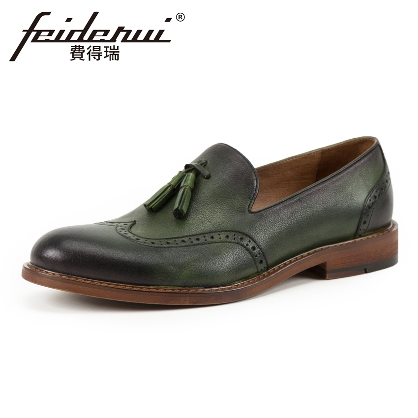 Vintage Genuine Leather Breathable Men's Wingtip Loafers Round Toe Slip on Tassels Handmade Man Casual Brogue Shoes KUD130 high end breathable men casual shoes loafers genuine leather lace up rubber handmade slip on sewing lazy shoes italian designer