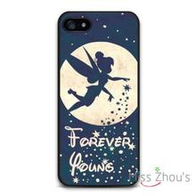 Forever Young Tinkerbell back skins mobile cellphone cases for iphone 4 4s 5 5s 5c SE