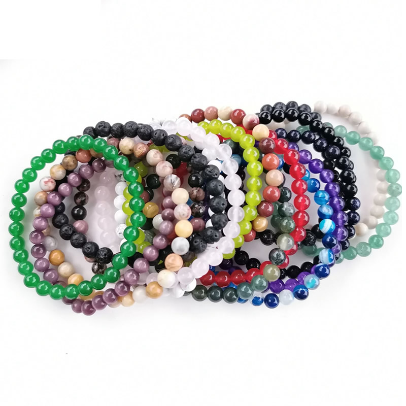 Minimalist 6MM Natural Bracelet for Women Men Tiger Eye Pink crystal Volcanic stone Agat Beaded Yoga Stretch Bracelets Bangles
