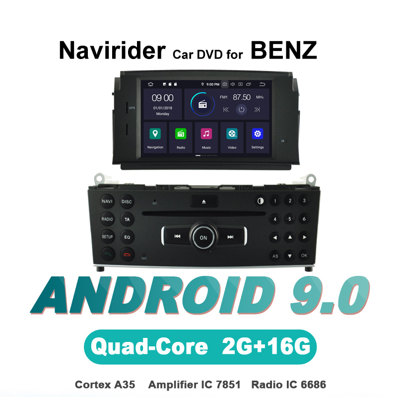 Navirider <font><b>autoradio</b></font> gps navigation <font><b>android</b></font> 9.0 car radio Player for BENZ <font><b>W204</b></font> C200 DVD AUX stereo bluetooth AUTO accessories image