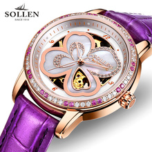 Orologio Donna Luxury Brand SOLLEN Skeleton Women Watch Lucky Clover Girl Automatic Mechanical Ladies Dress Watches Rose Gold