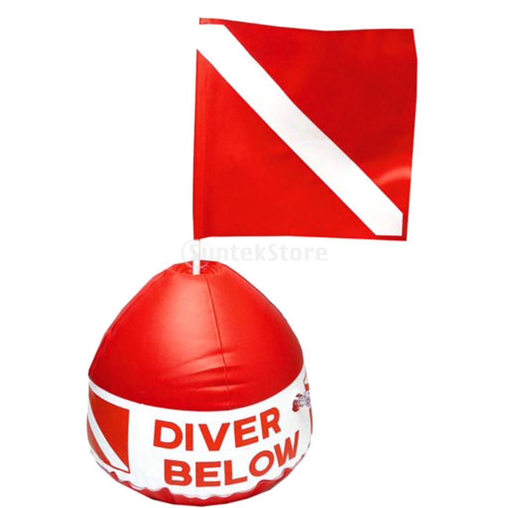 Snorkel Scuba Dive Diving Surface Marker Inflatable Dive Flag Sign Signal Buoy Red White Safe Float Diver Below