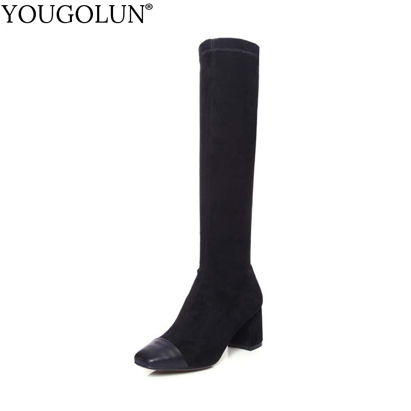 YOUGOLUN Women Knee High Boots Genuine Stretch Leather 2017 Autumn Thick Heel 6.5 cm Heels Black Gray Square Toe Shoes #Y-230 yougolun women ankle boots 2018 autumn winter genuine leather thick heel 7 5 cm high heels black yellow round toe shoes y 233