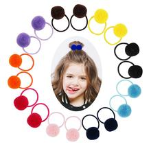 Candygirl Fur Ball Elastic Hair Band Tie 12 Colors Cute Girls Children Pompon Rope Lovely Rubber Scrunchies Creative