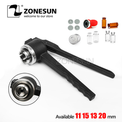 ZONESUN 24mm Stainless Steel decapper tool, manual Crimper / Capper / Vial WITH EMPTY UNSTERILE VIALS LIDS AND RUBBERS