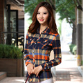 M-XXL Autumn Spring Women Casual Plaid Cotton Shirts Long Sleeve Breathable Blouses Tops Double-sided Brushed Fabric