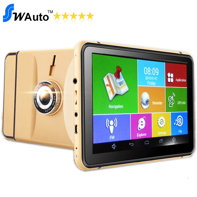 Prix pour 7 pouce android GPS navigator véhicule GPS tablet android 4.4 Wifi + DVR Fonction + AV-IN + Bluetooth + FM + 8 GB + 512 MB