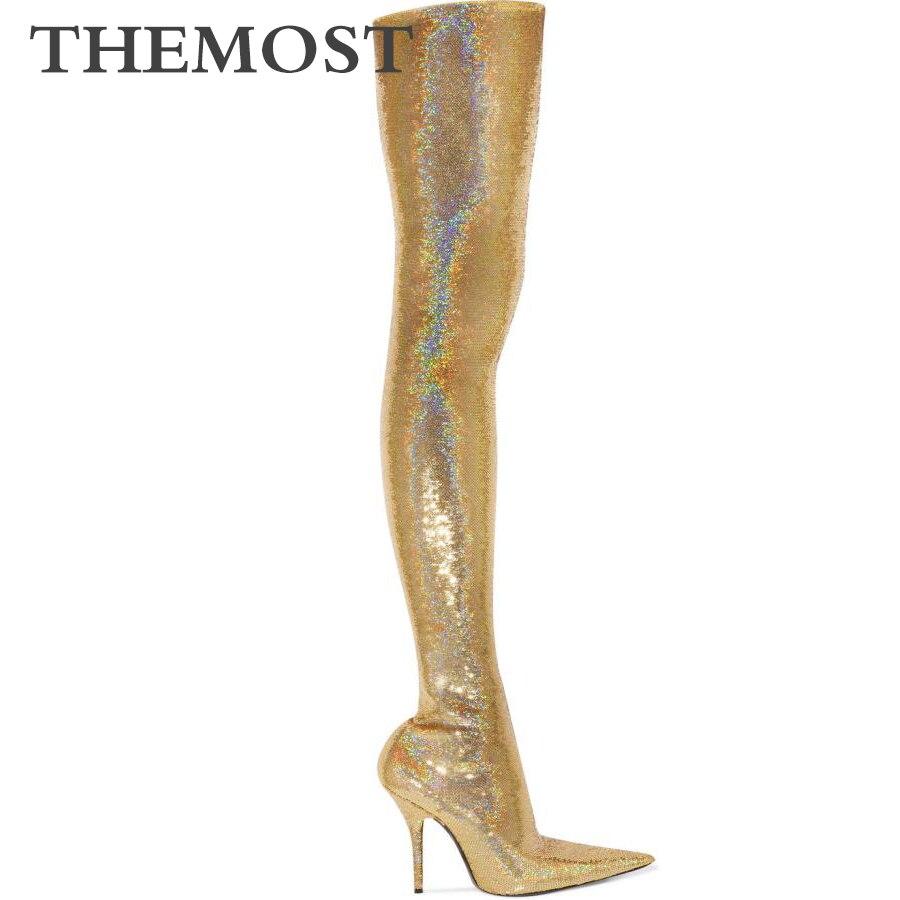 Metálico de prata de ouro das mulheres over-the-knee boots outono e inverno moda sexy super salto alto apontou botas de cano alto femininas
