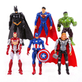 "The Avengers 2 6pcs/set Iron Man Thor Captain America Batman Superman Hulk PVC Action Figures Toys 4"" 10cm OPP bag WU685"