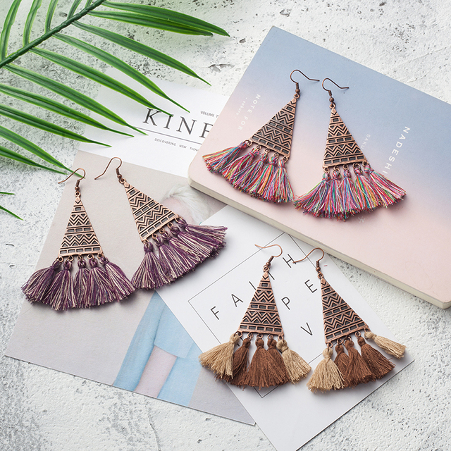 Brush Fringed Tassel Dangle Drop Earrings for Women Vintage Antique Geometric Bo