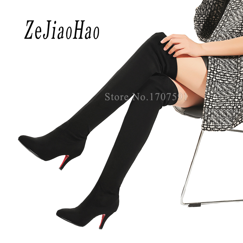 Womens dress shoes fashion winter black over knee platform suede fur boots tall riding boots