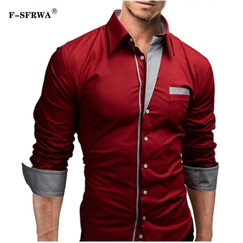 F-SFRWA 2019 Dress Shirts Mens Brand Shirt Cotton Slim Fit Chemise Long Sleeve Shirt Men Casual Red Shirt Large Size XXXL