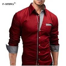 F-SFRWA 2019 Dress Shirts Mens Brand Shirt Cotton Slim Fit Chemise Long Sleeve Shirt Men Casual Red Shirt Large Size XXXL все цены