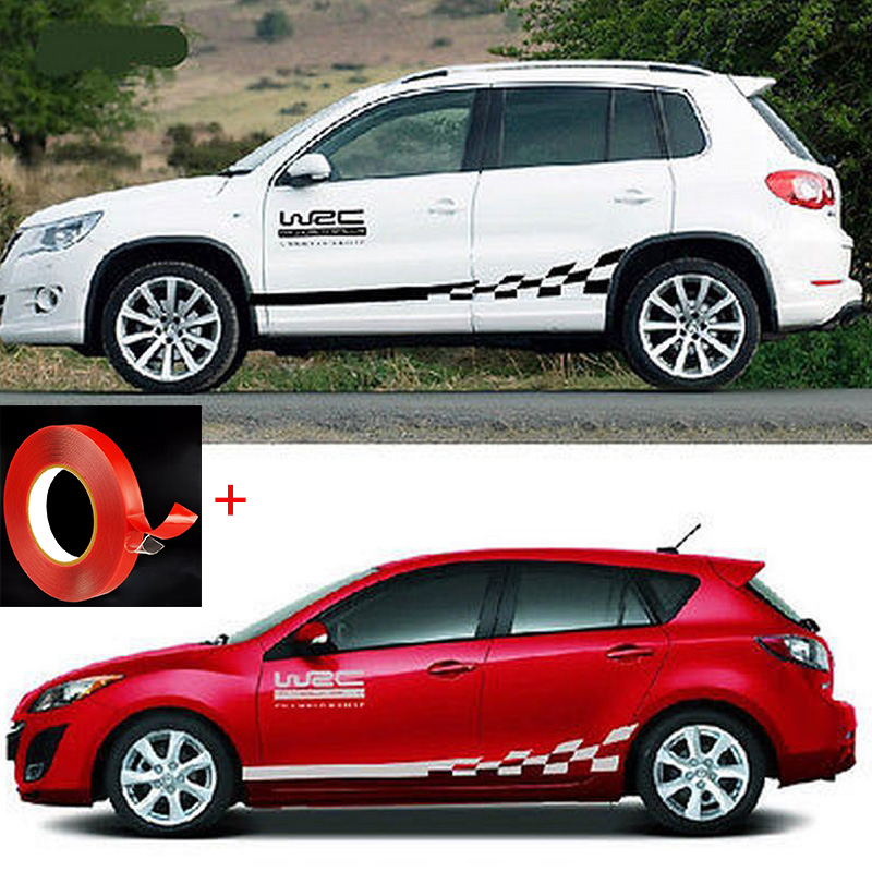 2pcs Car Stickers And Decals WRC Door Side Sticker With Gird Pattern Car Body Stickers Auto Race Check Flag Car Vinyl