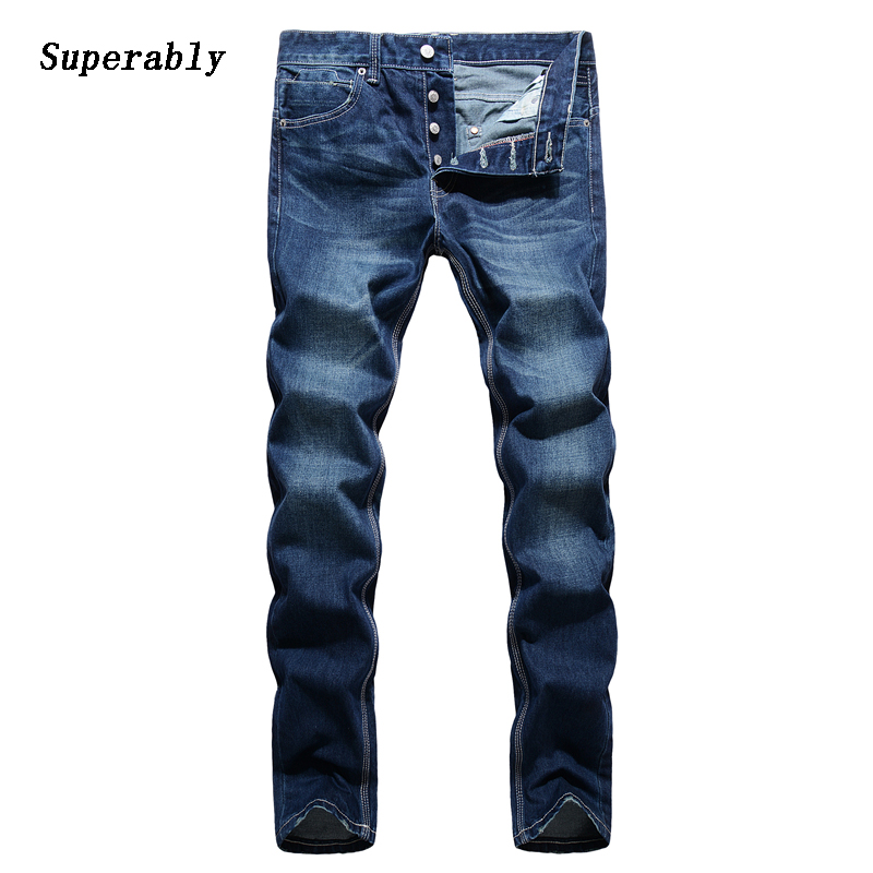Casual Designer Blue Jeans Men Loose Straight Denim Pants High Quality Superably Brand Clothing Men`s Buttons Jeans 14113 встраиваемый светильник novotech dew 370150