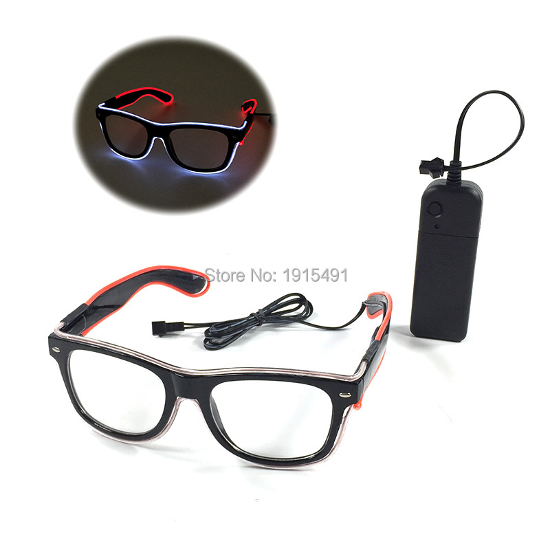 Free Shipping Christmas Decor Double Color Mixed EL wire Sunglasses Holiday Lighting Bright LED Glasses with 3V Battery Inverter