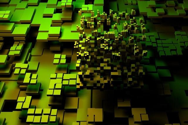 Pola Abstrak 3d Cg Digital Art Artistik Warna Hijau Persegi