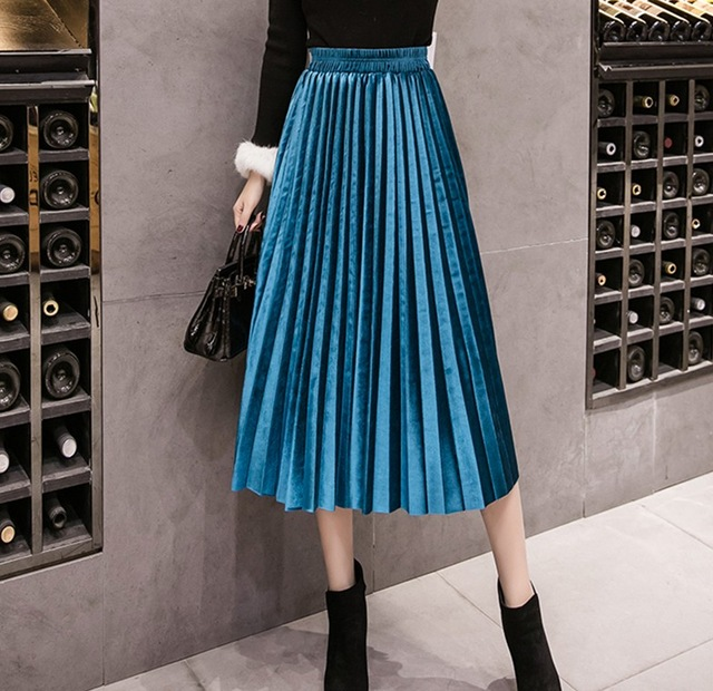 2018 Autumn Winter Velvet Skirt High Waisted Skinny Large Swing Long Pleated Skirts Metallic Plus Size Saia