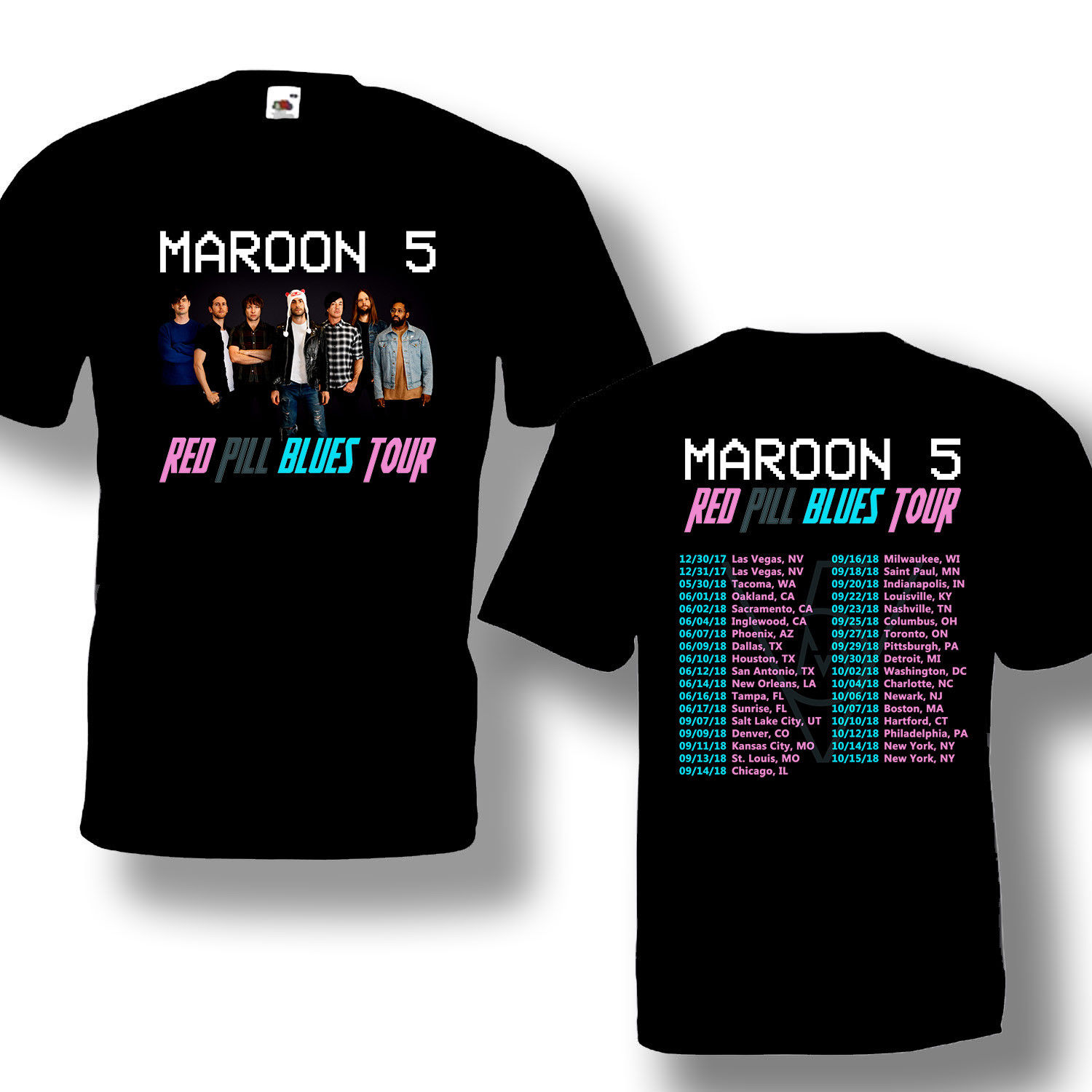 Men Short O Neck T Shirt Maroon 5 Tour 2018 Tshirt With Tour Date Black Color Hot Design For Sale