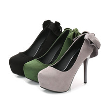New Women Pumps Shoes Flock Bow Round Toe Slip-On 12cm Thin High Heels Platform Shallow Solid Sexy Club Lady Party Female Shoes цена и фото