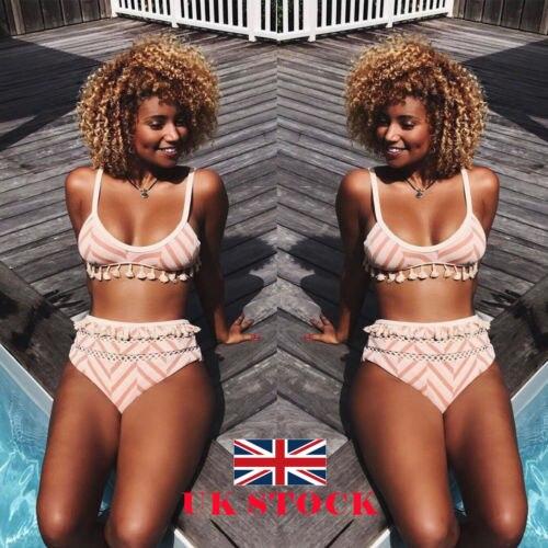UK Women Ladies Striped High Waist Bikini Swimming Costume Swimsuit Beachwear