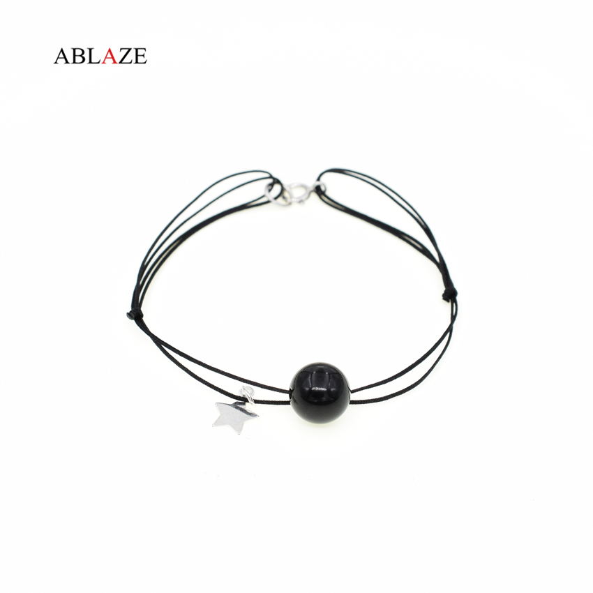 ABLAZE 925 Sterling Silver Star Charms Bracelets Natural Black Agate Onxy Stones Fine Jewelry Ladies Bracelet #i004b