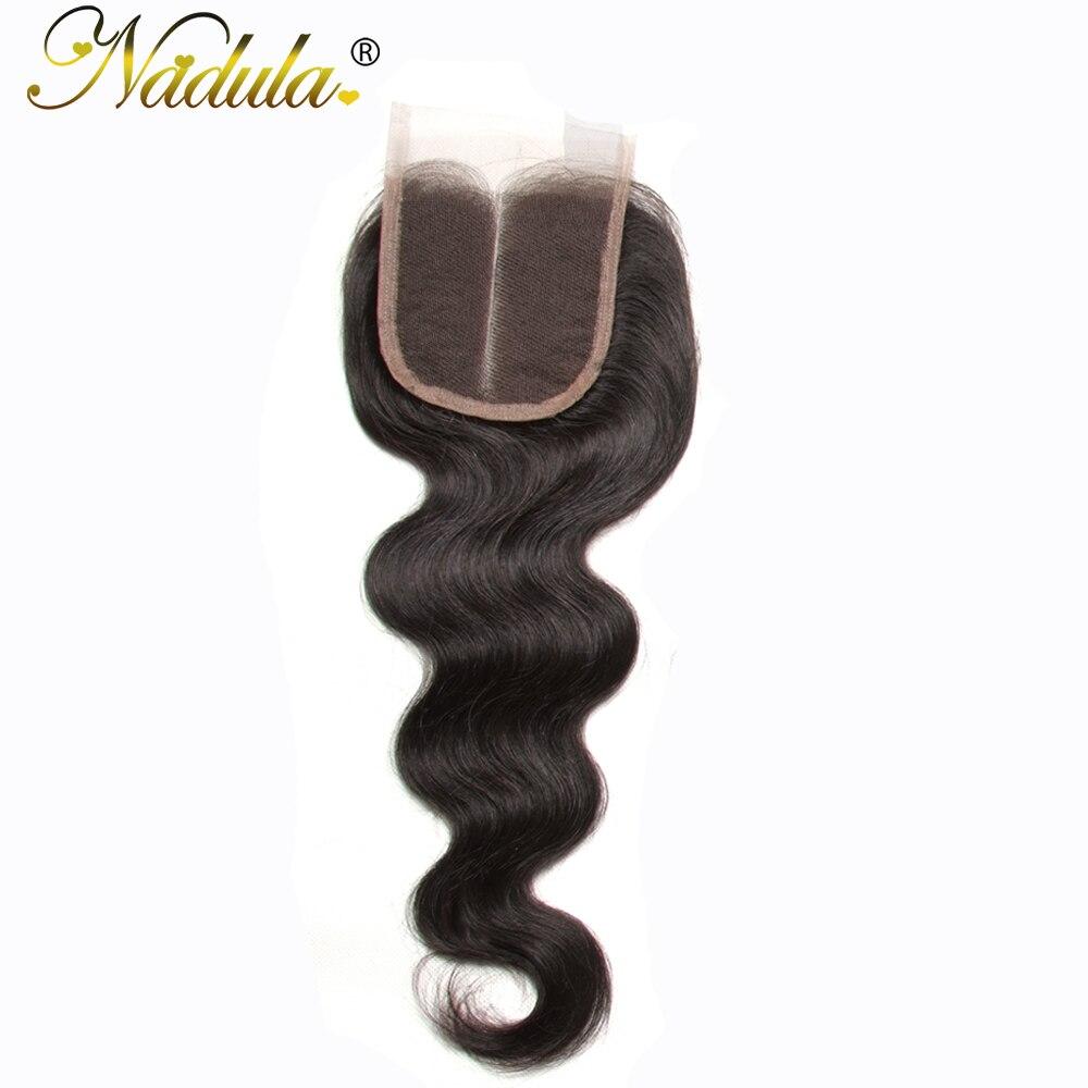 Nadula Hair 4 4 Middle Part Brazilian Body Wave Hair Closure 100 Human Hair Non Remy