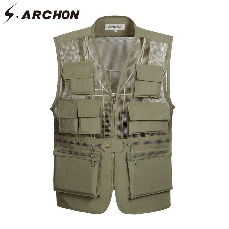 S.ARCHON Summer Military Thin Mesh Vest Men Quick Dry Breathable Sleeveless Waistcoats Male Casual Multi Pocket Photography Vest