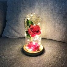 LED Beauty Rose and Beast Battery Powered Red Flower String Light Desk Lamp Romantic Valentine's Day Birthday Gift Decor