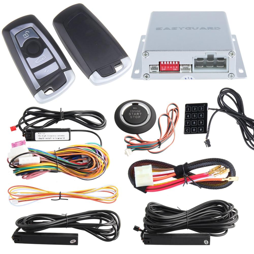 Top quality PKE Car Alarm system remote engine start stop, auto passive keyless entry kit, push button start, window close auto