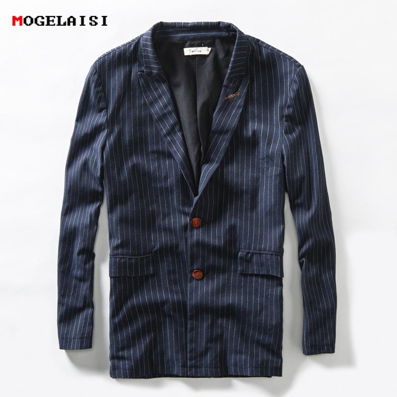 New 2018 Spring Suits Men Chinese Style Jacket Linen Cotton Slim Fashion Striped Suit Long Sleeve Single Breasted Jacket 1791