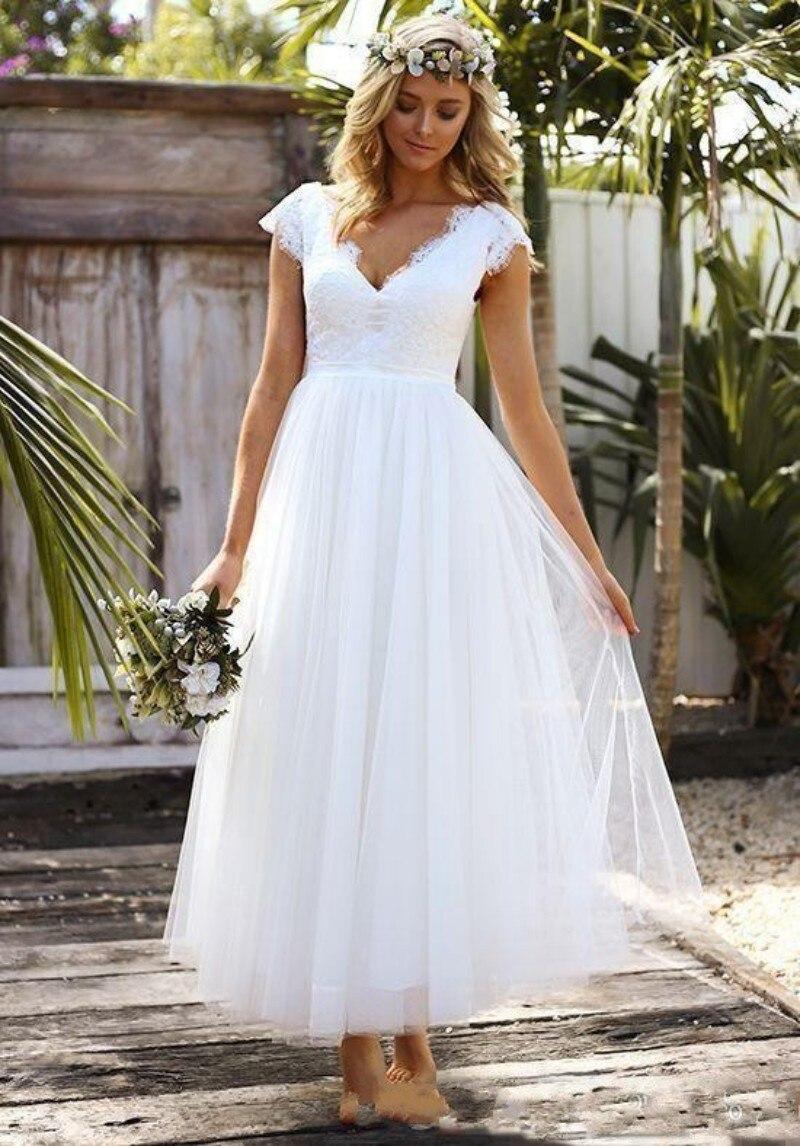 White Wedding Dresses Lace Tulle Bridal Gowns Ankle Length Vestidos De Novia V-neck Custom Made 2019 A-line