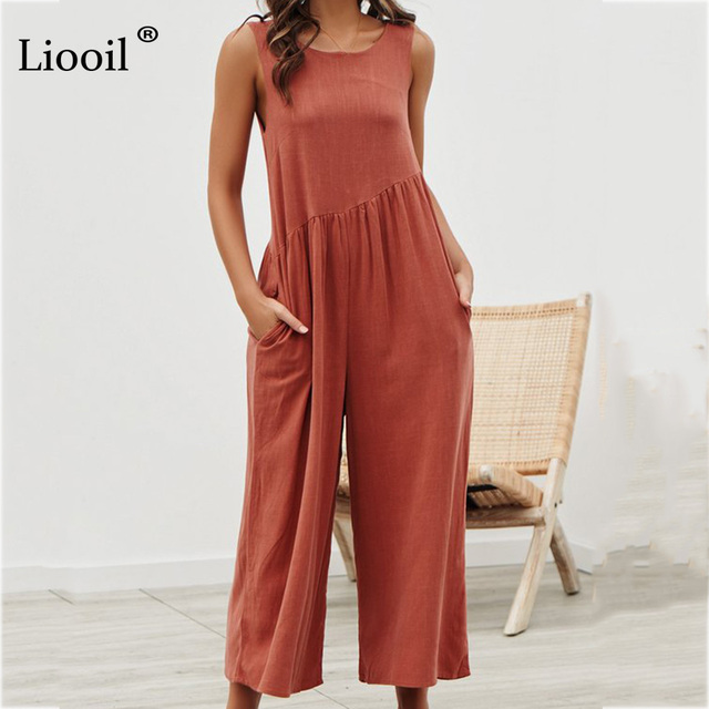 Liooil Casual Loose Jumpsuits For Women 2019 Spring Summer Black White Boho Jumpsuit Backless Party Sexy Rompers Womens Jumpsuit