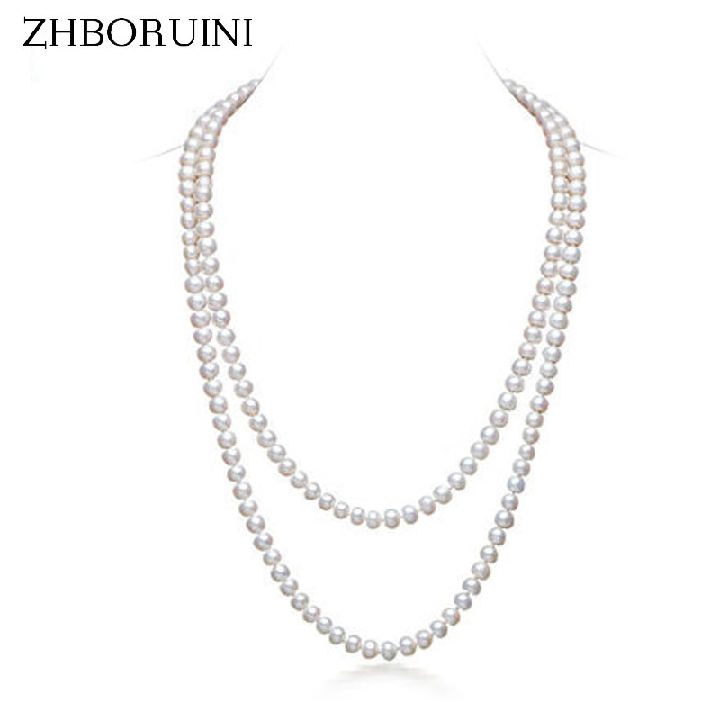 ZHBORUINI 2017 Fashion Long Multilayer Pearl Necklace Natural Freshwater Pearl Oblate Pearl Women Necklace Jewelry For Women zhboruini fashion long multilayer pearl necklace freshwater pearl tassels women accessories statement necklace jewelry for women