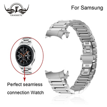 Stainless Steel Watch Band for Samsung Gear S3 Classic/Frontier 22mm Butterfly Buckle With curved end Link Bracelet Wrist Black for samsung gear s3 classic frontier wrist strap bracelet black 22mm silicone rubber watch band with stainless steel buckle