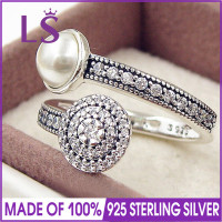 LS High Quality 100% Real 925 Silver Luminous Glow Ring, White Crystal Pearl and Clear CZ Fashion Ring 100% Fine Jewelry H