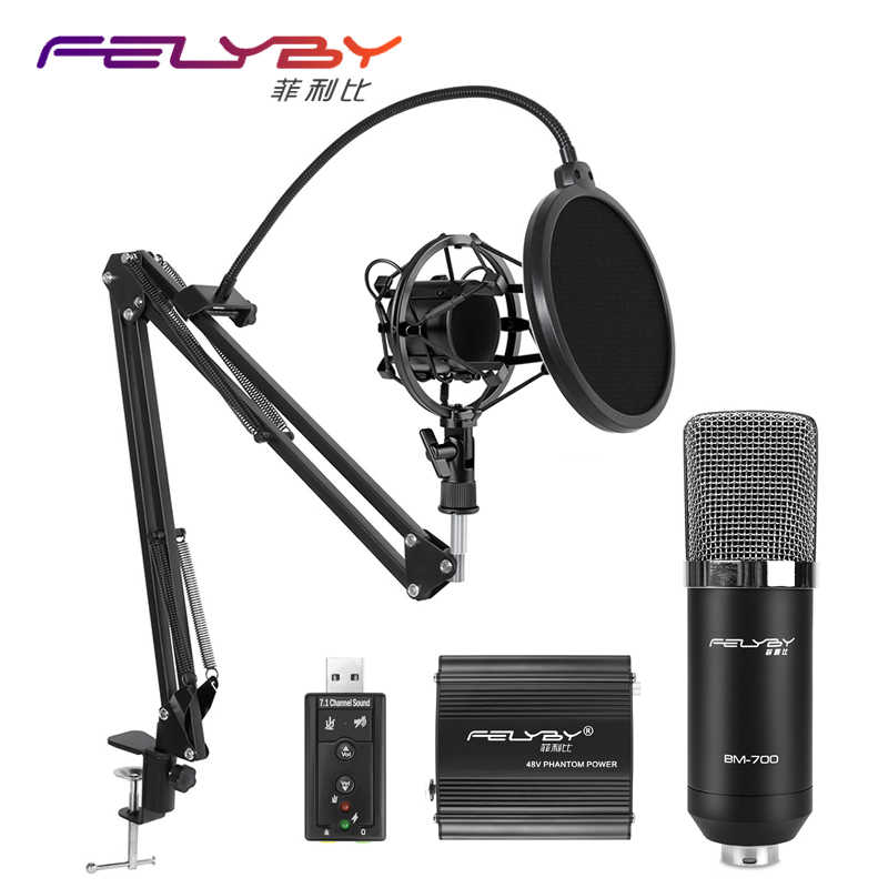 BM 700 Professional  Wired Condenser microphone For Audio Studio Vocal Recording Mic KTV Karaoke microphones Metal Shock Mount