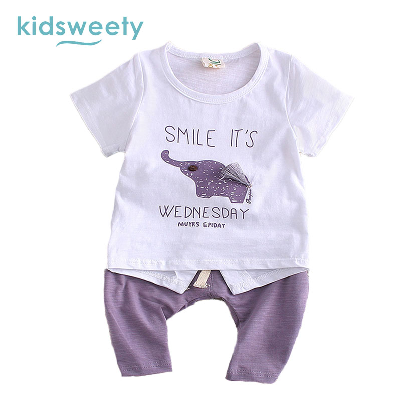 Kidsweety Kids Sets 2017 Summer Animal Unisex T Shirt Pants Suits Boy Shorts Pullover Letter Lovely