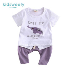 Kidsweety Kids Sets 2017 Summer Animal Unisex T-Shirt Pants Suits Boy Shorts Pullover Letter Lovely Girl Twinset Casual Kid Sets