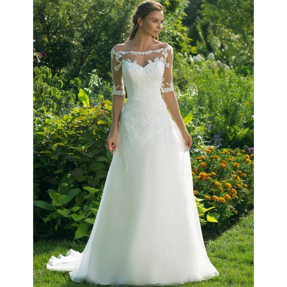 New Arrival Wedding Dress Half Sleeve Off The Shoulder Sheer Boat Neck A Line Floor Length Country Garden Formal Bridal Gowns