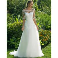 New Arrival Wedding Dress Half Sleeve Off The Shoulder Sheer Boat Neck A Line Floor Length Country Garden Formal Bridal Gowns