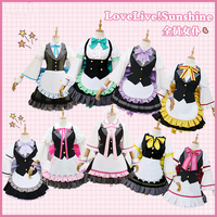 Anime Love Live Sunshine Aqours All Members Black and White Maid Dress Cosplay Costume H