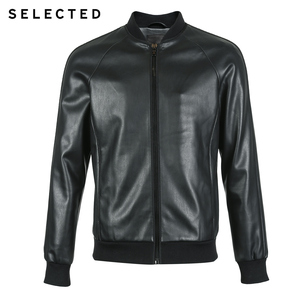 Image 5 - SELECTED Mens Leather Jacket Baseball Collar Pure Color Coat PU Jacket S