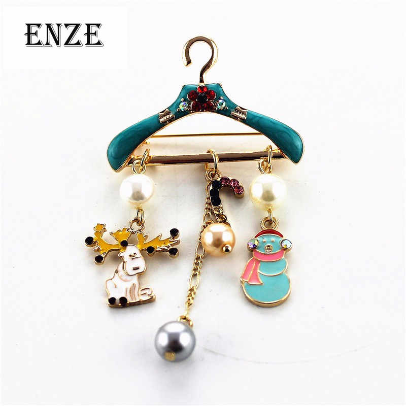 Free shipping Hanger Santa Claus Zinc Alloy Gold Fashion Jewelry Accessories Christmas Party Women's Brooches Wholesale