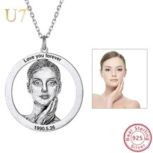 U7 Personalized Photo Text Necklace 925 Sterling Silver Custom Necklaces Pendants Women Jewelry Gifts for Mother's Day SC212 u7 100% 925 sterling silver heart shape engraved personalized custom photo pendant necklace mother s day gifts for lovers sc83
