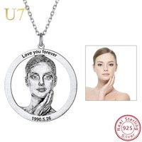 U7 Personalized Photo Text Necklace 925 Sterling Silver Custom Necklaces Pendants Women Girls Valentine's Day Gift for Her SC212