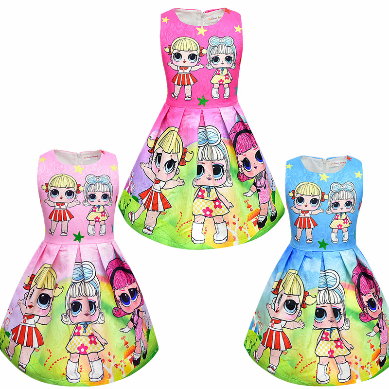 New Baby Summer Princess Surprise Doll Rainbow Dress Girl Halloween Birthday Party Vestidos Dress Children Print Show Dress